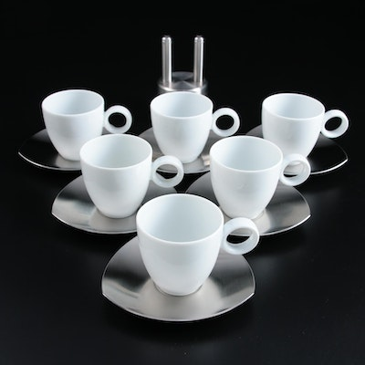 Thomas for Rosenthal Porsche Demitasse Cups, with Saucers and Piston Shakers