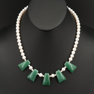 14K Quartzite and Pearl Necklace