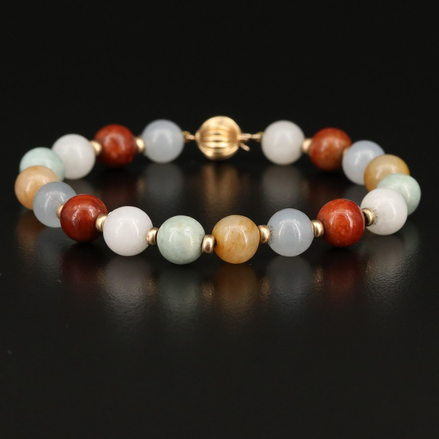 14K Jadeite Beaded Bracelet