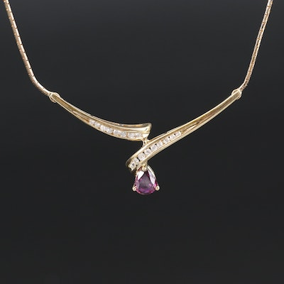 Italian 14K Ruby and Diamond Necklace