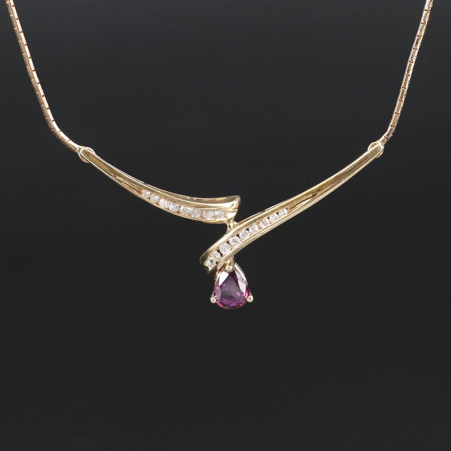 Italian 14K Ruby and Diamond Necklace