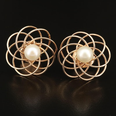 Vintage 14K Pearl Spherical Earrings