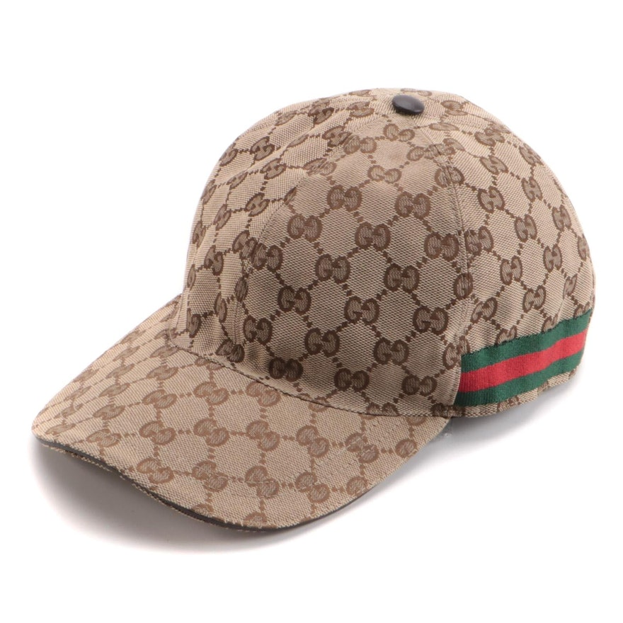 Gucci Original Baseball Hat in GG Canvas with Web and Leather Trim