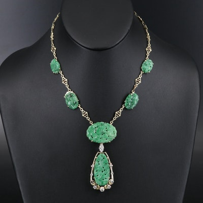 Late 1930s 14K Carved Jadeite and Diamond Drop Necklace