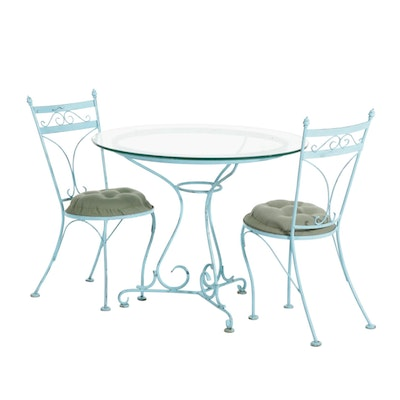 Metal Glass Top Bistro Table and Chairs, Mid to Late 20th Century