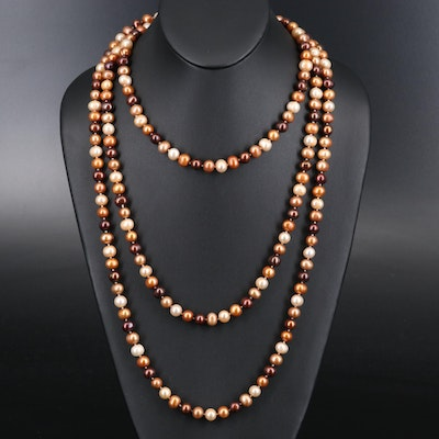 Endless Rope Length Multicolor Pearl Necklace