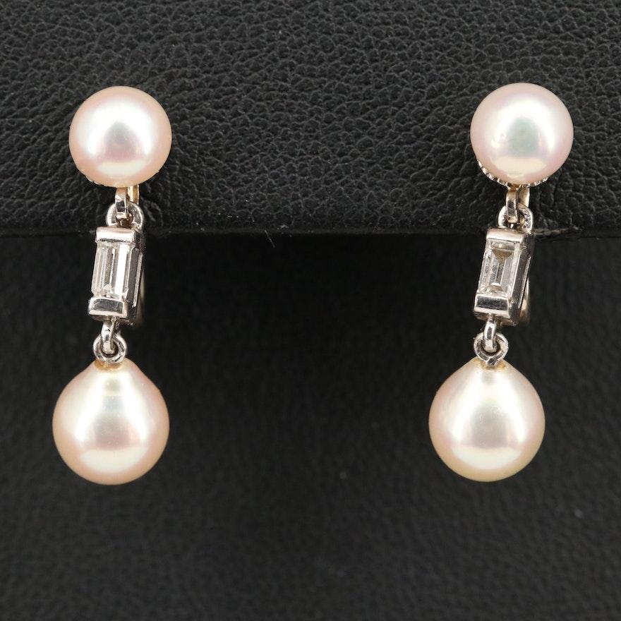 14K Pearl and Diamond Screw Back Earrings