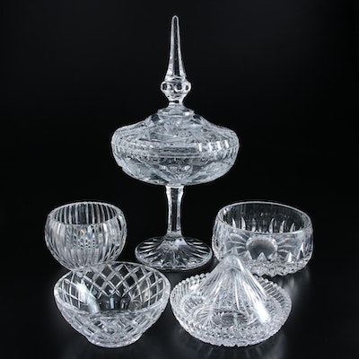 Crystal Compote with Spire Cover and Other Bowls,  Late 20th Century