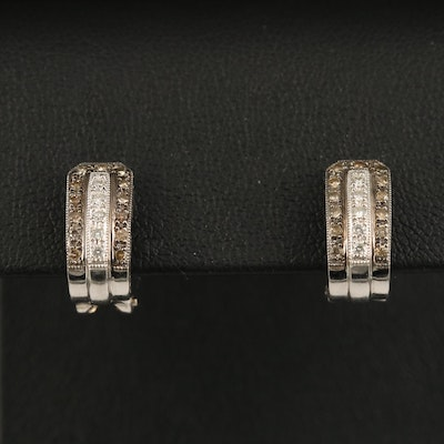 18K Diamond J Hoop Earrings with Milgrain Detail
