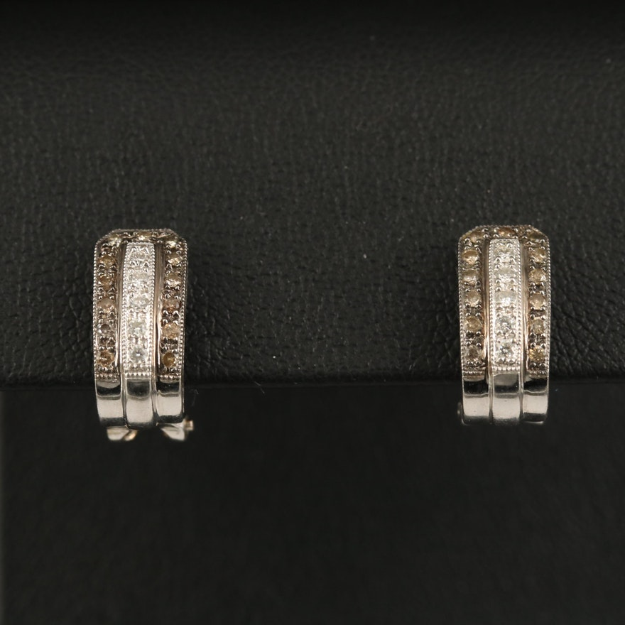 18K Diamond J Hoop Earrings with Milgrain Detail