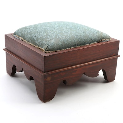 Late Victorian Paisley Upholstered Mahogany Stained Footstool