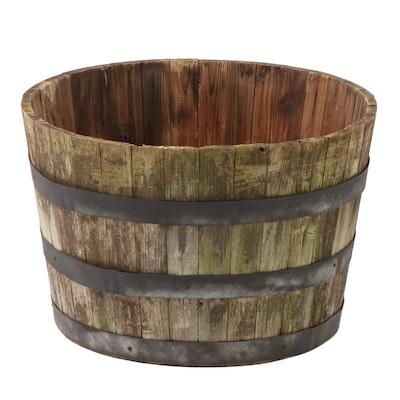 Metal Banded Pine Barrel Planter