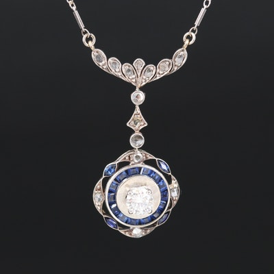 Edwardian 14K Diamond and Sapphire Lavalier Necklace with Calibre Set Stones