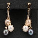 14K Pearl Tassel Earrings