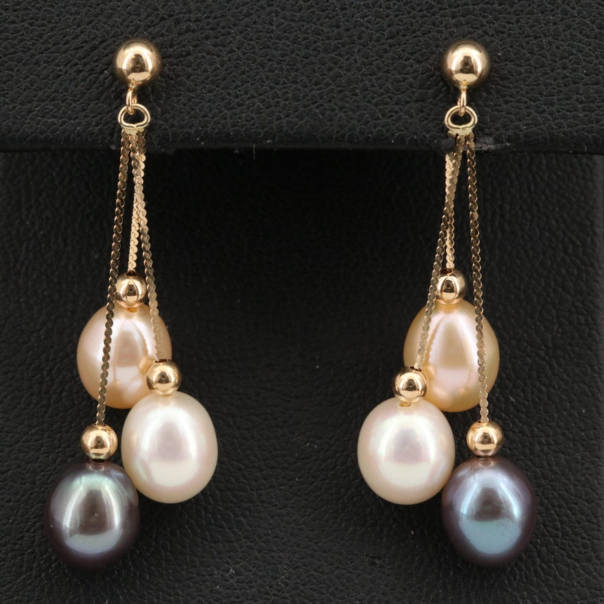 14K Pearl Tassel Earrings