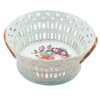 French Lunéville Faïence Reticulated Potpourri Basket, Late 19th/ Early 20th C.