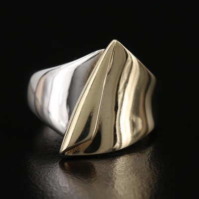 Contemporary 10K Italian Gold Two-Tone Ring