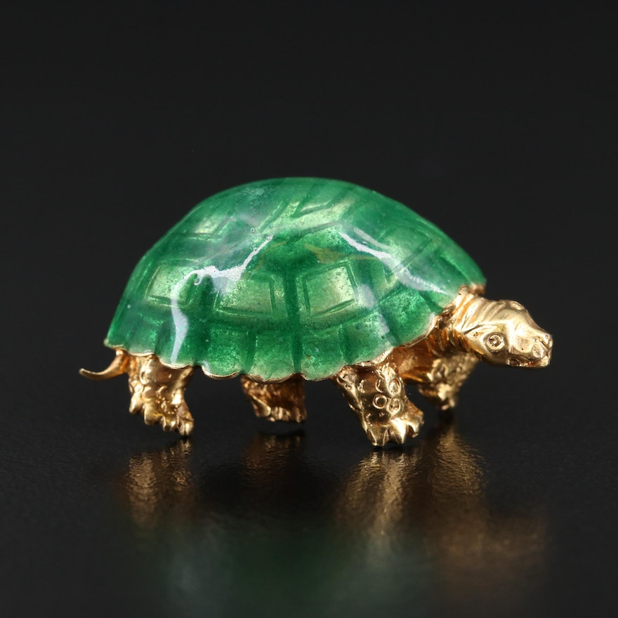 Italian 18K and Enamel Turtle Brooch