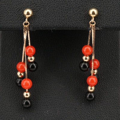 14K Coral Tassel Earrings