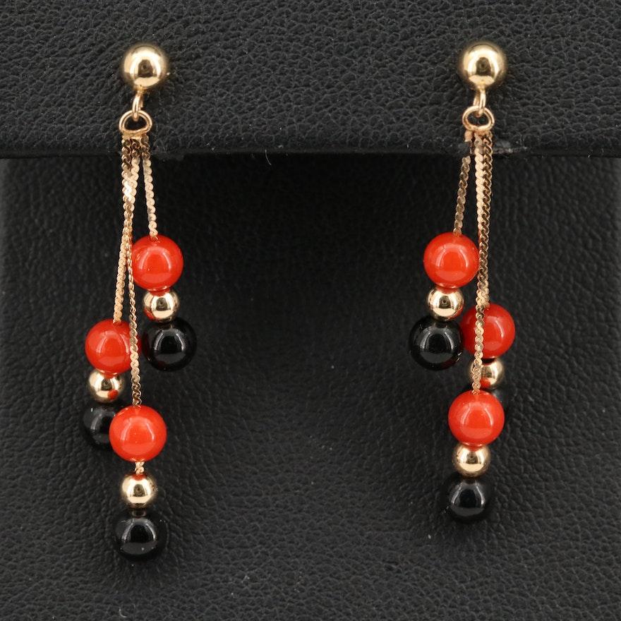 14K Coral Tassel Earrings
