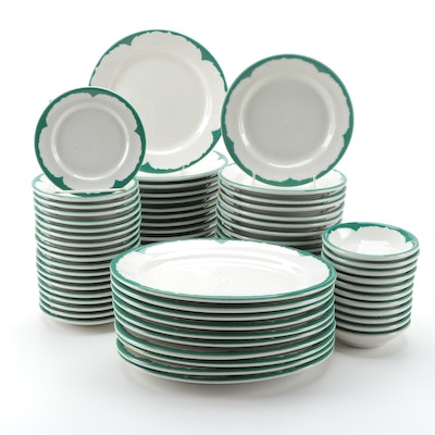 Anchor Hocking Shenango China Green Restaurant Ware Tableware, Mid-Late 20th C.
