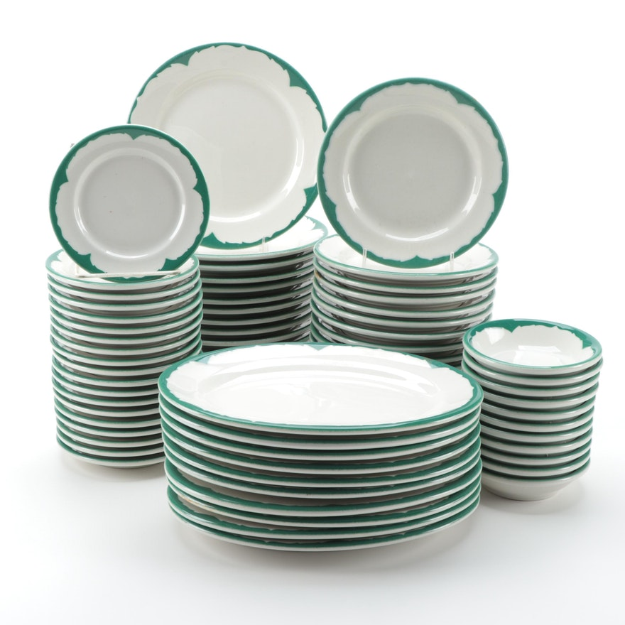 Anchor Hocking Shenango China Green Restaurant Ware Tableware, Mid-Late 20th C.