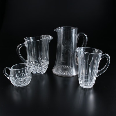 Pressed Glass and Crystal Pitchers and Creamer, Mid to Late 20th Century