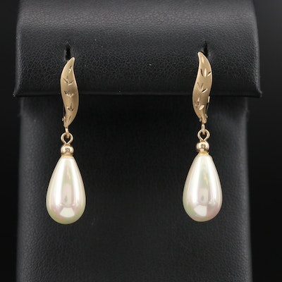 14K Pearl Drop Earrings with Etched Details