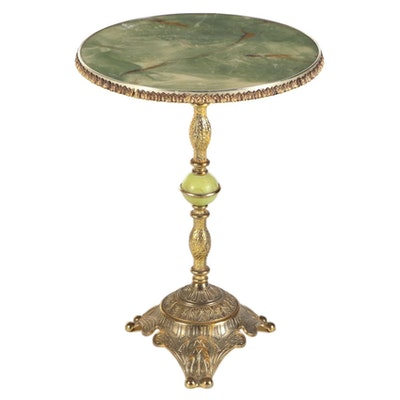 Faux Onyx and Gilt Occasional Table