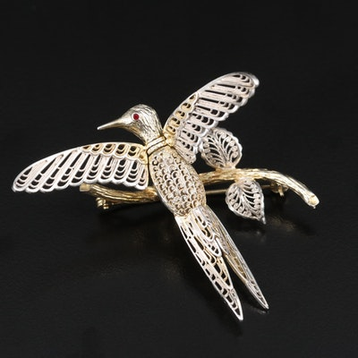 Vintage Van Lou German Sterling Filigree Articulated Bird Brooch