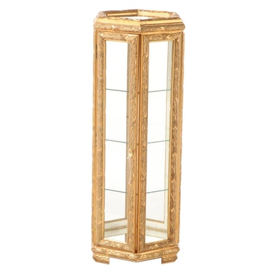Giltwood and Glass Hexagonal Pedestal Display Cabinet
