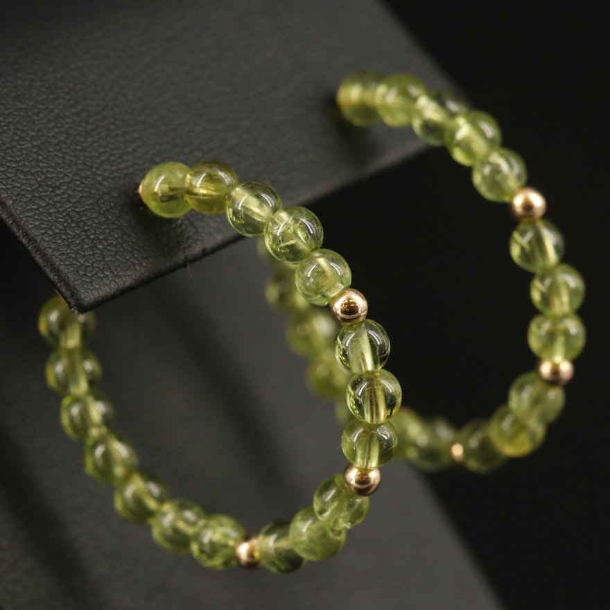 14K Peridot Beaded Hoop Earrings