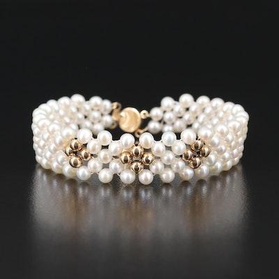 14K Woven Pearl Bracelet