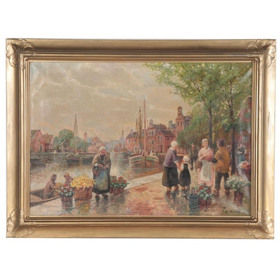 Genre Street Scene Oil Painting with a Flower Vendor