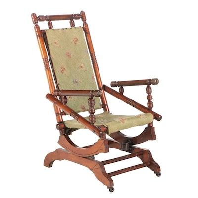 Late Victorian Walnut Platform Rocking Chair