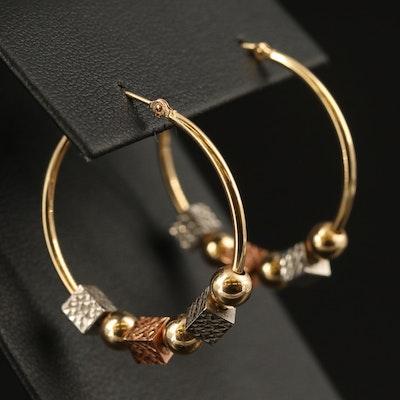 14K Tri-Tone Geometric Beaded Hoop Earrings