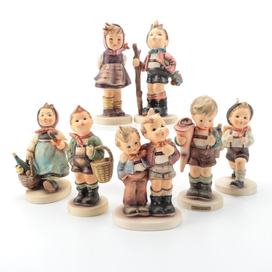 """Goebel Hummel Porcelain Figurines Including """"Village Boy"""" and """"School Boy"""""""