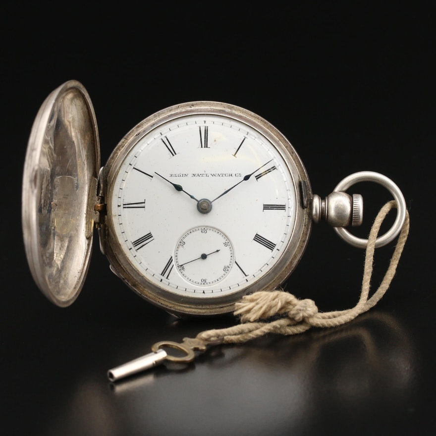 1885 Elgin Coin Silver Hunting Case Pocket Watch