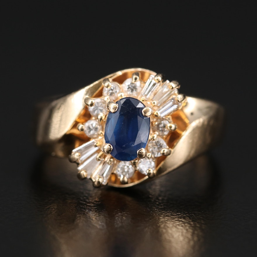 14K Sapphire and Diamond Bypass Ring
