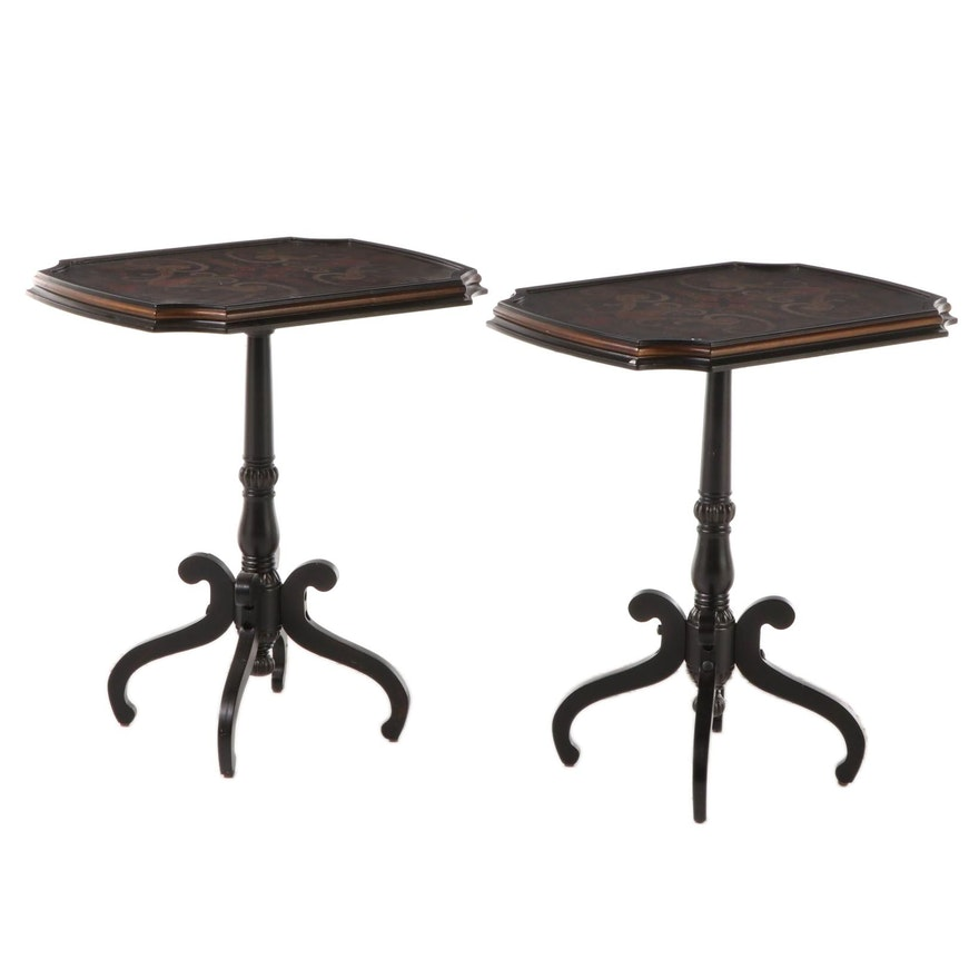 Pair of Full House Regency Style Lacquered End Tables