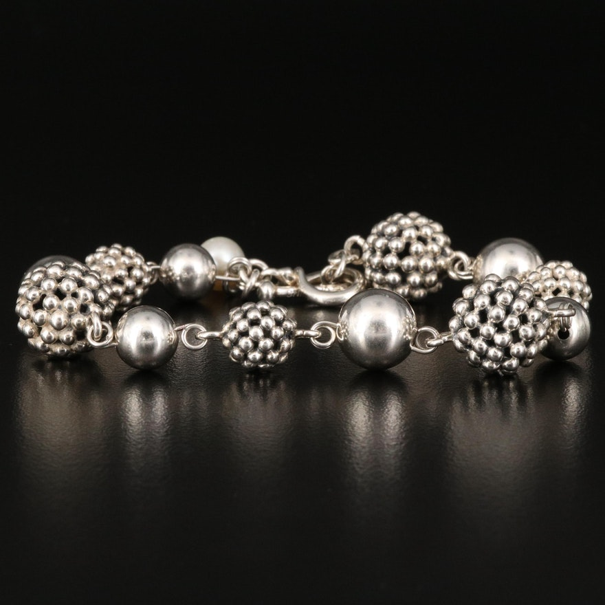 Michael Dawkins Sterling Link Toggle Bracelet with Pearl Accent