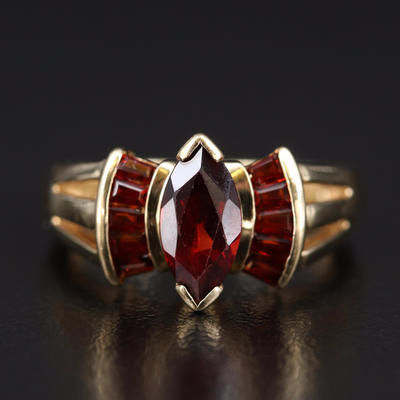 14K Garnet Open Shoulder Ring