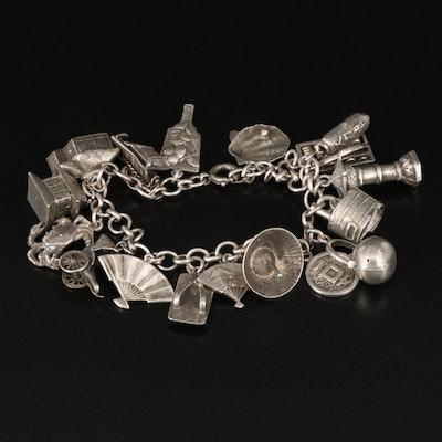 Asian Inspired 950 Silver Charm Bracelet