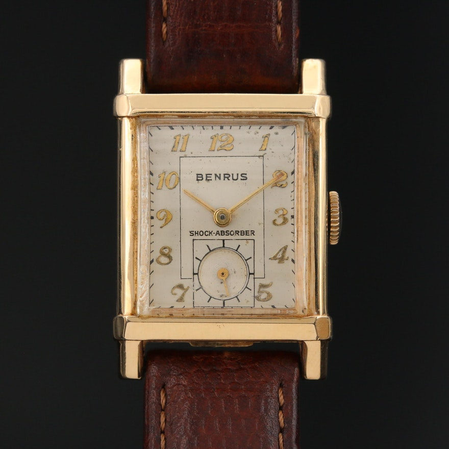 Vintage Benrus 14K Yellow Gold Stem Wind Wristwatch