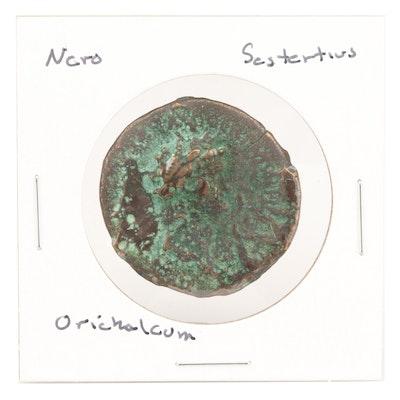 Ancient Roman AE Orichalcum Sestertius of Emperor Nero, Rome Mint, 54-68 AD