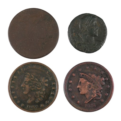 Four Antique Coins and Tokens