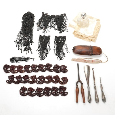 Hand-Beaded Garment Embellishments with Antique Linens, Eyeglass Case and More