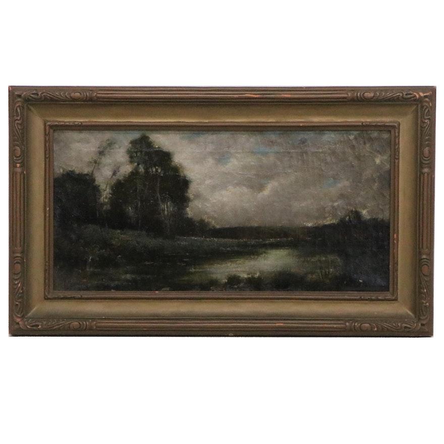 Albert Duvannes Landscape Oil Painting, Early 20th Century