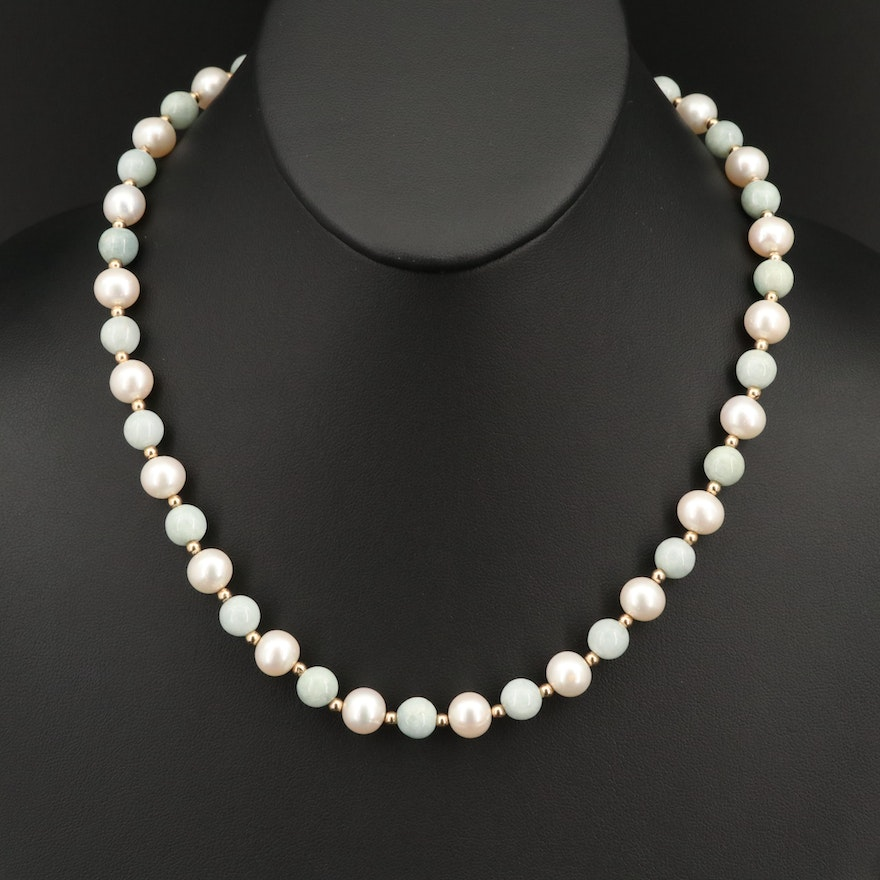 Jadeite and Pearl Necklace with 14K Clasp