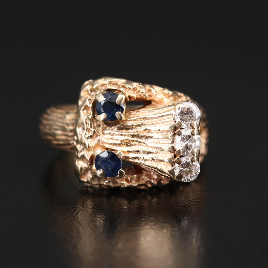 14K Diamond and Sapphire Buckle Ring